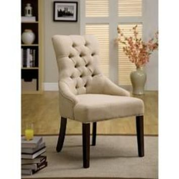 Sala Transitional Accent Chair With Flax Fabric, Set Of 2