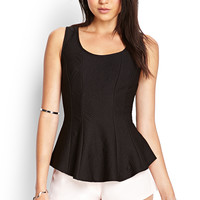 Textured Geo Peplum Top