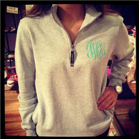 Gray Zippered Collar Letter Patterned Sweater