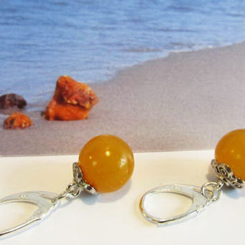 100% Natural Baltic Genuine #Amber #Earrings 4.7 gr, #yellow egg yolk butterscotch opaque transparent polished #round beads #Silver adult