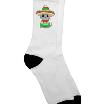 Cat with Sombrero and Poncho Adult Crew Socks - by TooLoud