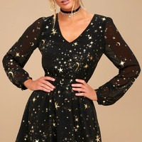 Midnight Skyline Black Star Print Long Sleeve Skater Dress
