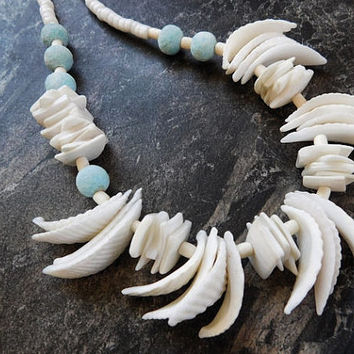 Sea Shell Necklace Winged Sea Shell Blue Pastel Dyed Sponge Coral Bead Seashell Boho Gypsy Chic Bohemian Bride Ocean Stone Handmade Necklace