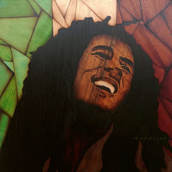 Original unique Wooden Bob Marley art marquetry inlay handmade home decor picture craft wall decor woodworking gift, present, by Andulino