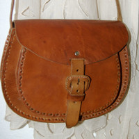 Cross Body Brown Leather Bag - HandMade Chiapas, Mexico