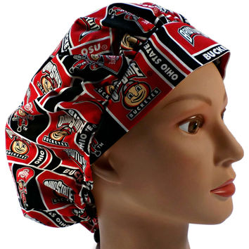 Women's Bouffant Surgical Scrub Hat Cap in Ohio State Buckeyes w/ Elastic and Cord-Lock