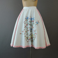 Vintage Full Skirt with Embroidered Birds & Pink Rosettes Trim, 1960s , 28 inch waist