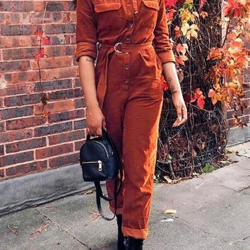 New Brown Pockets Belt Single Breasted High Waisted Corduroy Vintage Long Jumpsuit