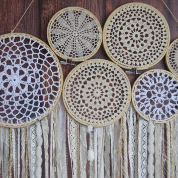 Dreamcatcher Wall Hanging • Doily Dream Catcher • Boho Chic Dreamcatcher • Nursery Wall Decor • Dorm Decor • Boho Decor • Yarn Wall Hanging