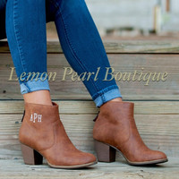 Personalized Brown Ankle Boots-Size 11