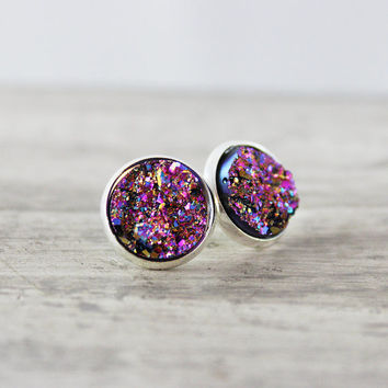 Metallic Stud Earrings, Silver Stud Earrings, Faux Druzy Earrings, Druzy Stud Earrings, Pink Stud Earrings, Purple Stud Earrings, Resin Stud