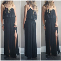 A Boho Double Slit Maxi in Black