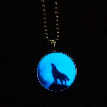 Retro Lady Wolf Glow in the Dark Charm
