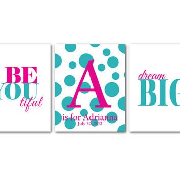 Kids Wall Art Trio Nursery Trio - Modern Monogram on Polka dots - Personalized Customizable Be You tiful - Baby Shower Gift - Dream Big -