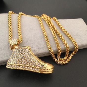 DCCKNY1Q Boys & Men Fashion Hip Hop Diamond Shoes Necklace