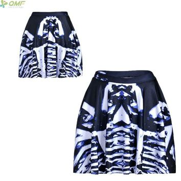 Pelvis Print Novelty Skinny Casual Harajuku Mini Skirt Breathable Women Summer Shorts Skirts Gothic Punk Halloween ZOMBIE TuTu