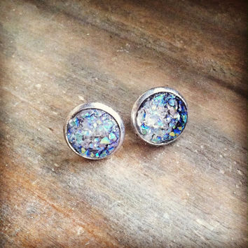 Druzy Stud Earrings, Resin Druzy, Stud Earrings, Clear Sparkle Studs, 10mm Earrings