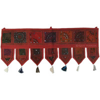 Red Patchwork Decorative Vintage Window Valance Treatment on RoyalFurnish.com