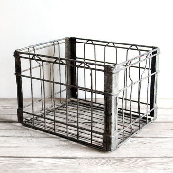 vintage metal wire milk crate by lacklusterco on Etsy