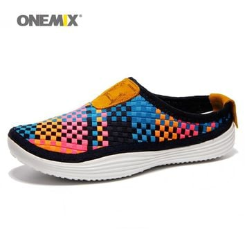 Onemix Men's running shoes summer breathable weaving walking shoes outdoor candy color lazy womens shoes