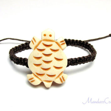 ON SALE - Turtle Bead Bracelet, Dark Brown Macrame Hemp Jewelry, Ready to Ship
