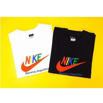 NIKE Black-White Embroidery Multicolor Casual sports round neck Tee Shirt
