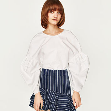 STRIPED SKIRT WITH FRILLSDETAILS