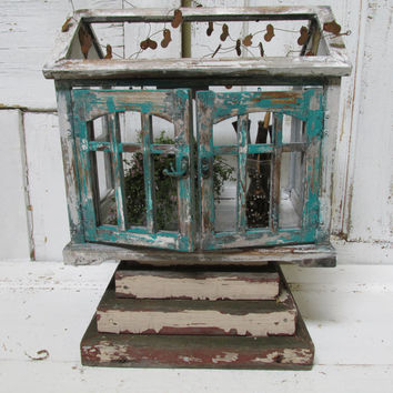 Display terrarium showcase French primitive vintage distressed garden or shabby chic home decor anita spero