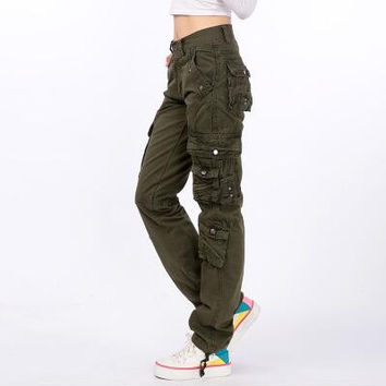 #2105 2016 Joggers women Hip hop women Cargo pants women Military Cotton Straigth Loose baggy Camouflage women Pantalones mujer
