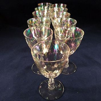 Fostoria Iridescent Shell Pearl Claret Wine Glasses