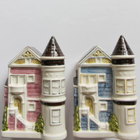 Vintage Ceramic Otagiri Victorian House Salt and Pepper Shakers 1980s