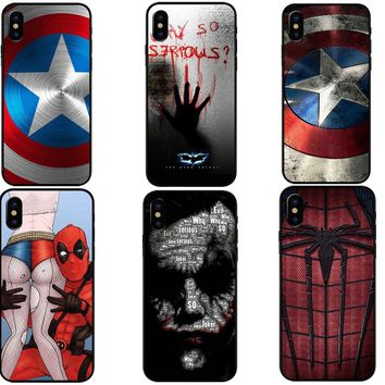 Marvel Superheroes Batman SpiderMan Iron man Soft TPU Silicone Cover For iPhone X 8 7 6 6s Plus 5S SE Phone Cases Joker Deadpool
