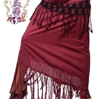 GYPSY LOVE SOLID & PRINTED COTTON SKIRT: Gypsy Rose