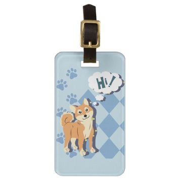 Thoughtful Shiba Inu Luggage Tag