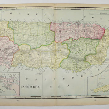 Old Puerto Rico Map Samoa Islands Philippines Map 1902 Vintage Travel Map, Vacation Gift for Couple, Antique Art Map, Caribbean Decor