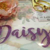 Glitter name iron on Lettering, name Applique, Shirt Decal, HTV Glitter Iron on, Bridesmaid gift idea