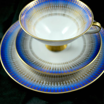 Bavaria Tea Set Trio Blue Gold Footed Tea Cup Saucer Dessert Plate , Art Deco Tea Set