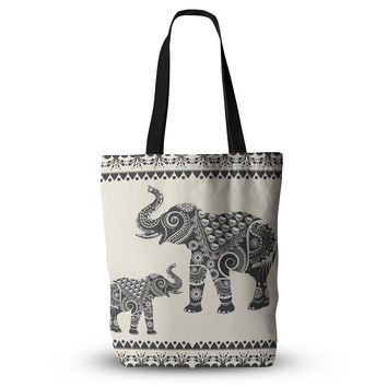 "Famenxt ""Ornate Indian Elephant-Boho"" Black Beige Everything Tote Bag"