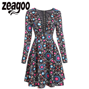 Zeagoo Sexy Lace Up Dress Fashion V-Neck Long Sleeve Print Cocktail Party Skater Dress Autumn High Waist Sheath Swing Dress XXL