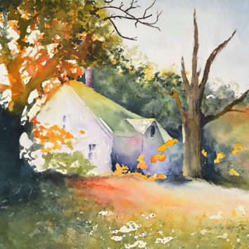 Landscape Abstract Watercolor Painting,Farm Print Landscape Wall Art,Farmland Painting,Country House, Forest Art,Cabin Painting,Fall Color
