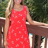 Sail Her Away Red Anchor Print Dress