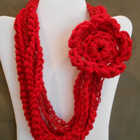color: Sour Cherry Sparkle // Girls Bright Red Sparkle Scarf Necklace with Flower, Kids, Child