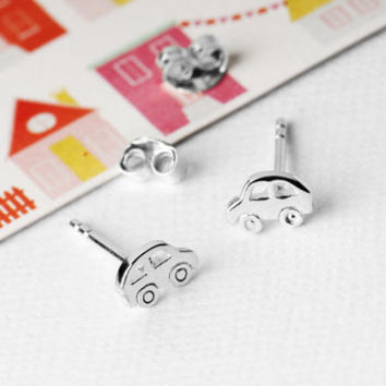 Car Stud Earrings In Sterling Silver
