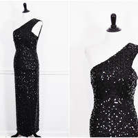 black sequin bombshell Lilli Diamond hollywood starlet VLV one shoulder cocktail formal gown maxi dress vintage 1960s