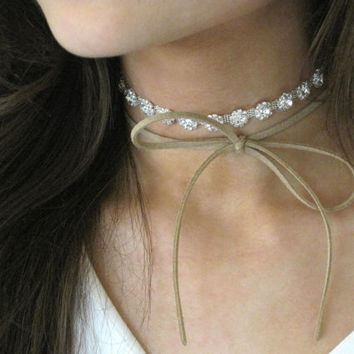 Layered Suede Choker,Rhinestone Choker, Crystal Choker, Sparkly Necklace, Bow Necklace, Ready To Ship, FOURTEEN SUEDE COLORS