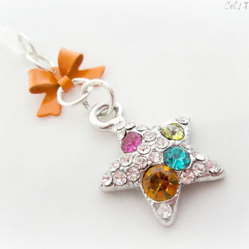 Orange gemstone star iPhone 5 dust plug charm, earphone jack charm for iPhone Smartphone, gift for her