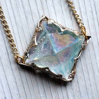 Angel Aura Quartz Pyramid Pendant Necklace,Boho Jewelry