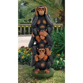 SheilaShrubs.com: Hear No Evil, See No Evil, Speak No Evil Monkeys Grand-Scale Statue EU48801 by Design Toscano: Garden Sculptures & Statues