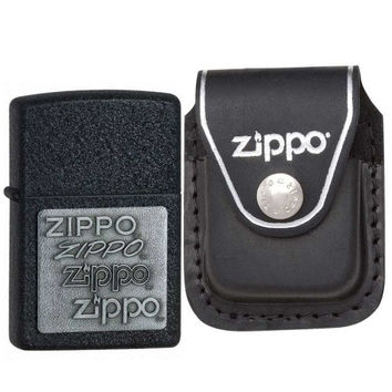 Zippo 363 Black Crackle Pewter Emblem Lighter with Zippo Black Leather Clip Pouch