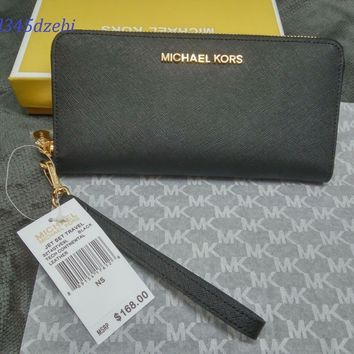 BLACK Michael Kors Saffiano Leather Jet Set Travel Purse strap Wallets sales